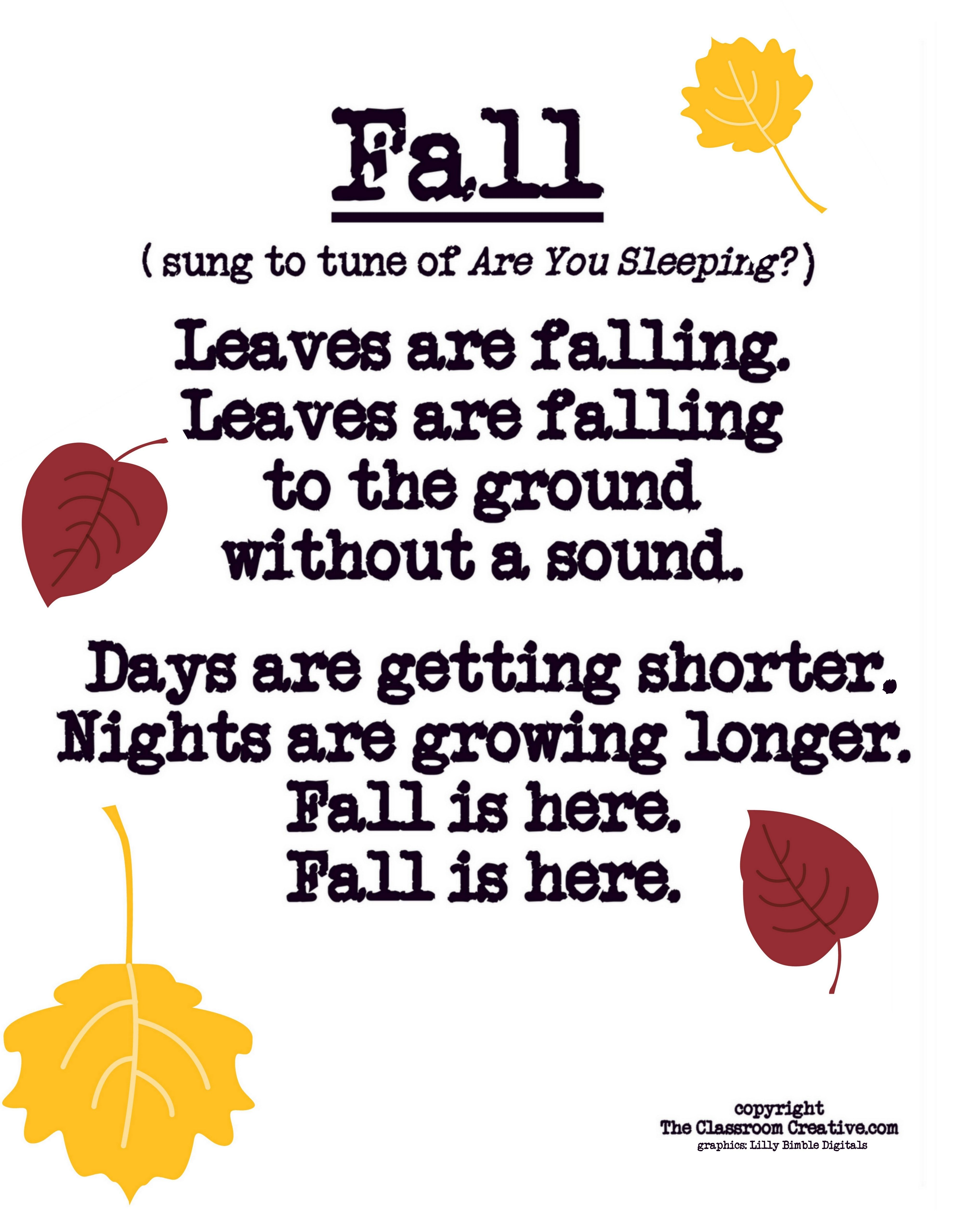 Fall Poem Song For Preschool Kindergarten First Grade