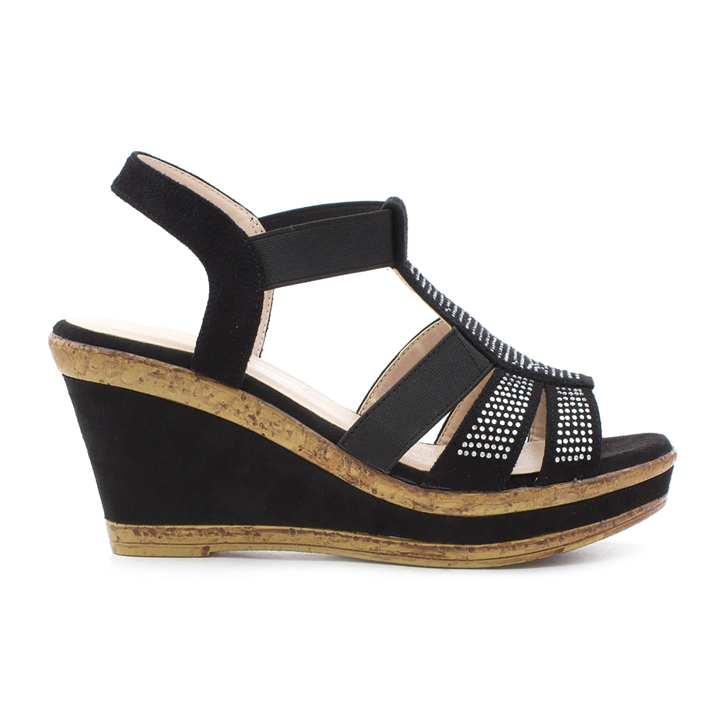 1dcdbc8325c Cushion Walk Womens Black High Wedge Sandal | SHOE ZONE | SS18 ...