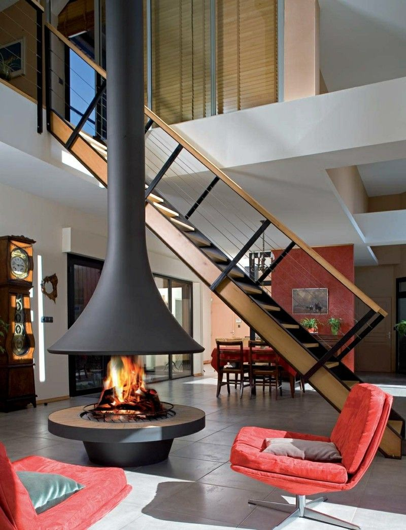 Wood-burning open central fireplace EVA 992 Fireplaces and heaters  Collection by JC Bordelet Industries