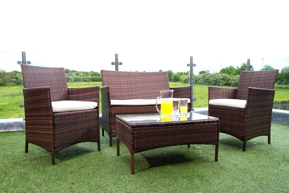 Rattan Garden Furniture Set Sofa Chairs Table Outdoor Patio