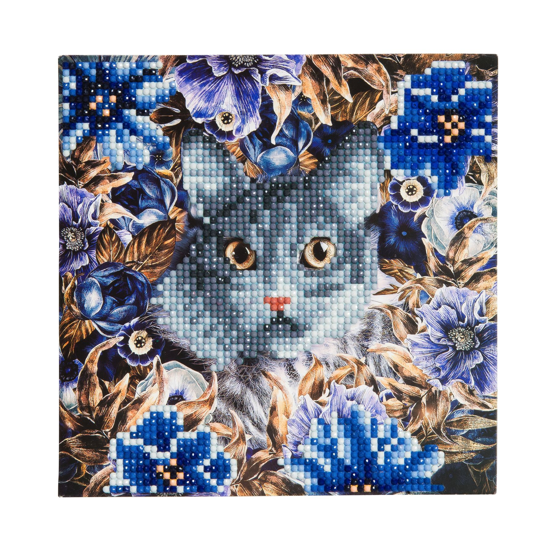 Ccka4 cat and flowers crystal card kit diy crystals