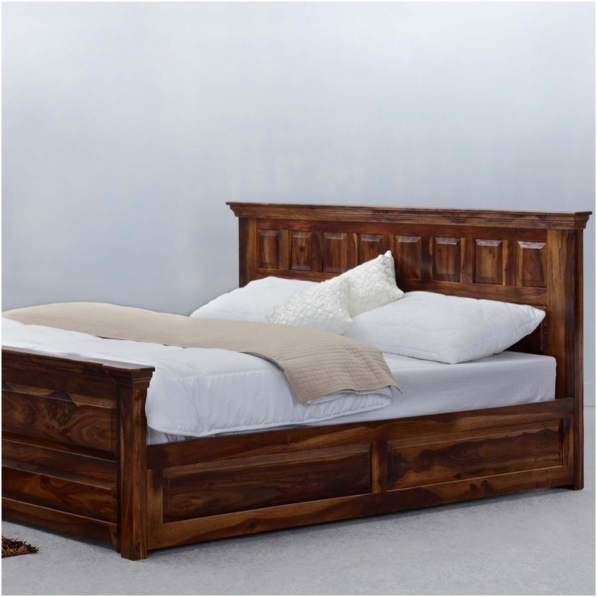 simply tudor rustic solid wood platform bed w storage solid wood
