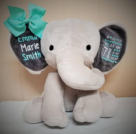This adorable elephant is adorned with your babys birth details and personalized birth elephant new mom gift first birthday gift baby shower gift nursery decor baby gift baptism christening negle Images