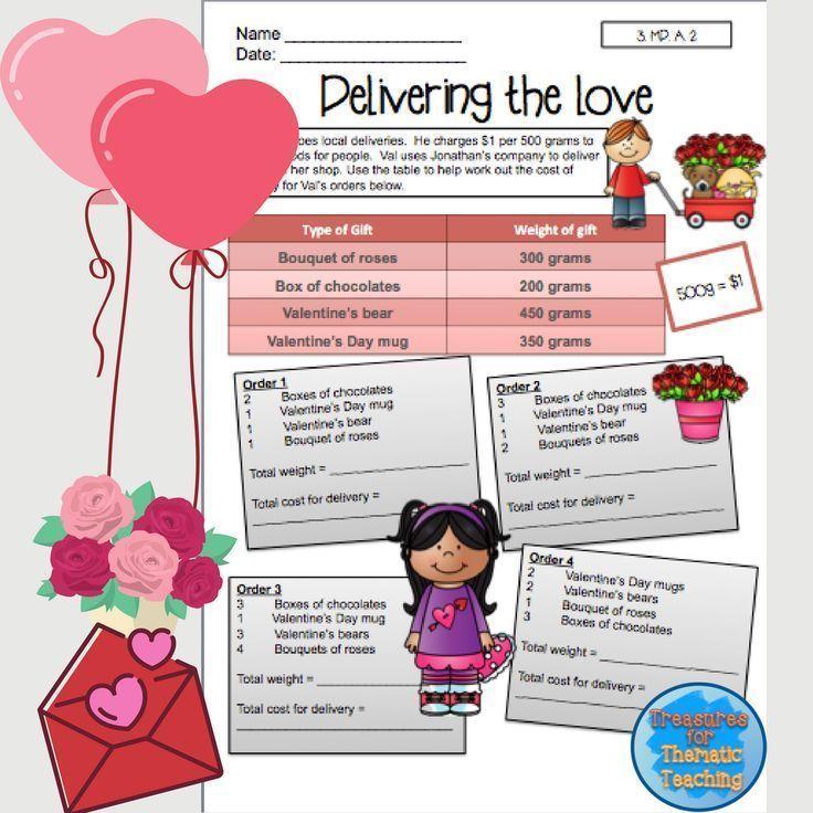 Valentines Day Mathematics Worksheets Grade 3 Pinterest