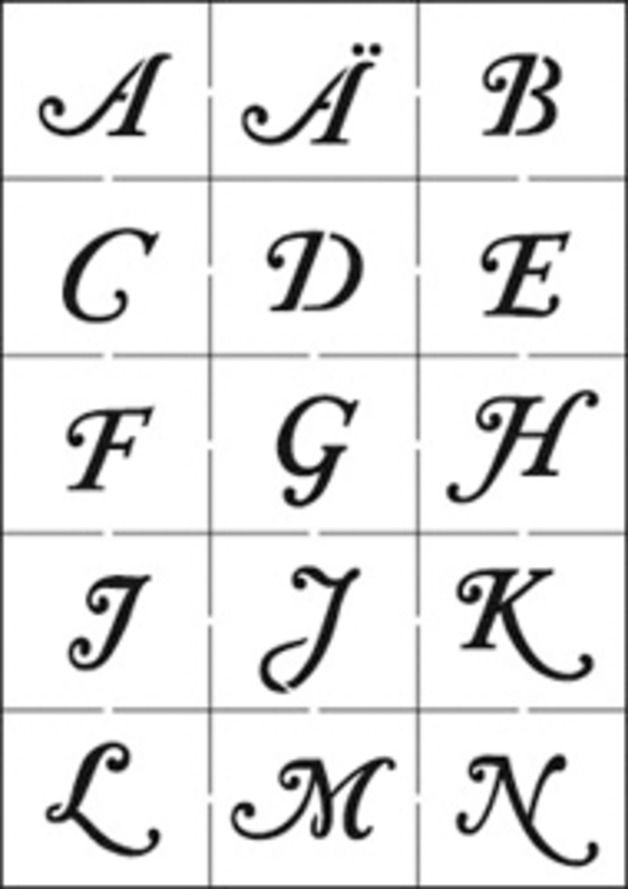 schablone alphabet gro mit gro en zahlen 3 bl tter 21x15cm ideal f r mixed media techniken. Black Bedroom Furniture Sets. Home Design Ideas