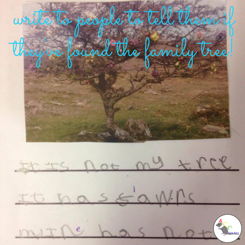 When people ask if they've found the Family Tree write back! #eyfs #earlyyears #stickman #aceearlyyears #eyfswriting #earlyyearswriting
