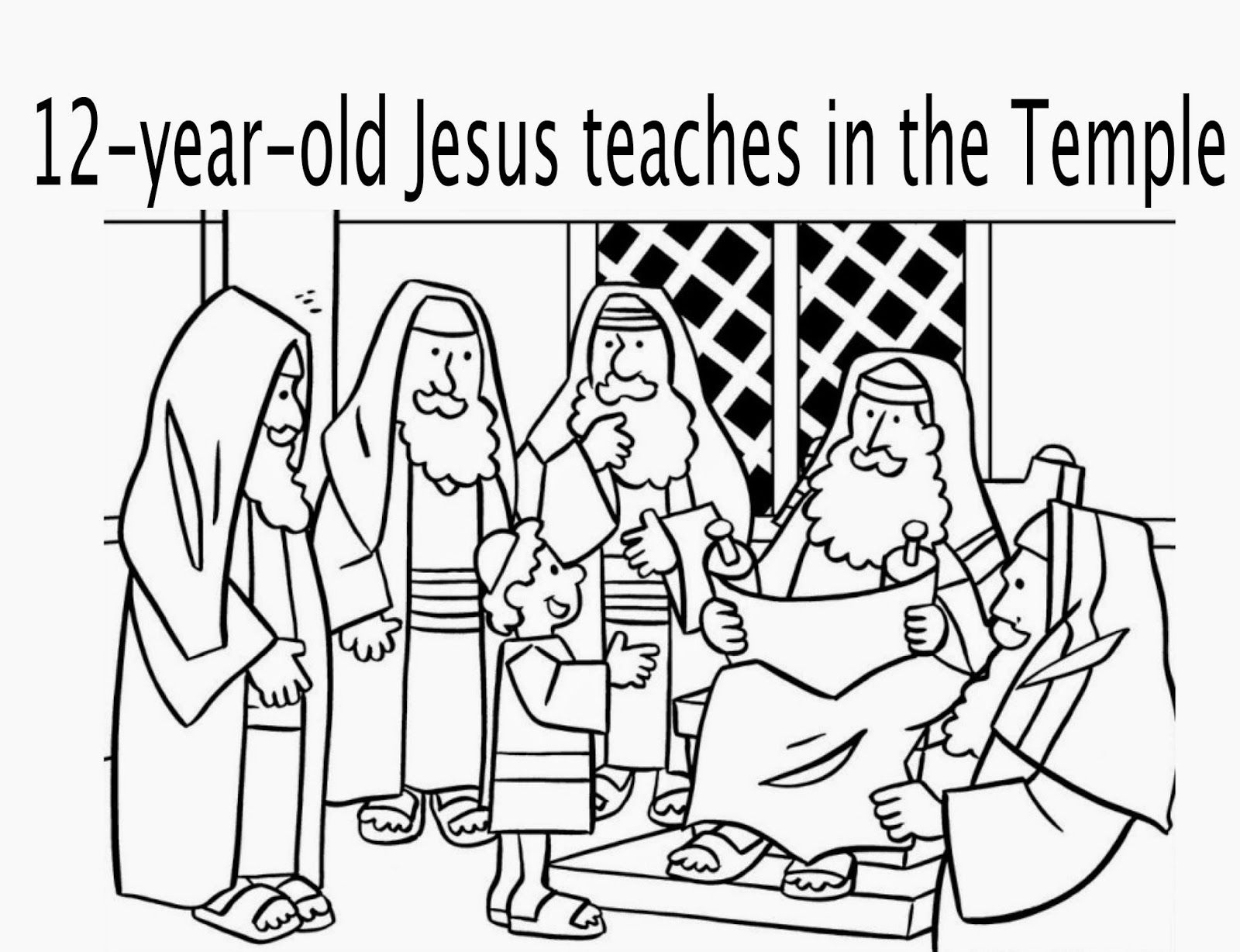 Jesus Teaching In The Temple Coloring Page 3