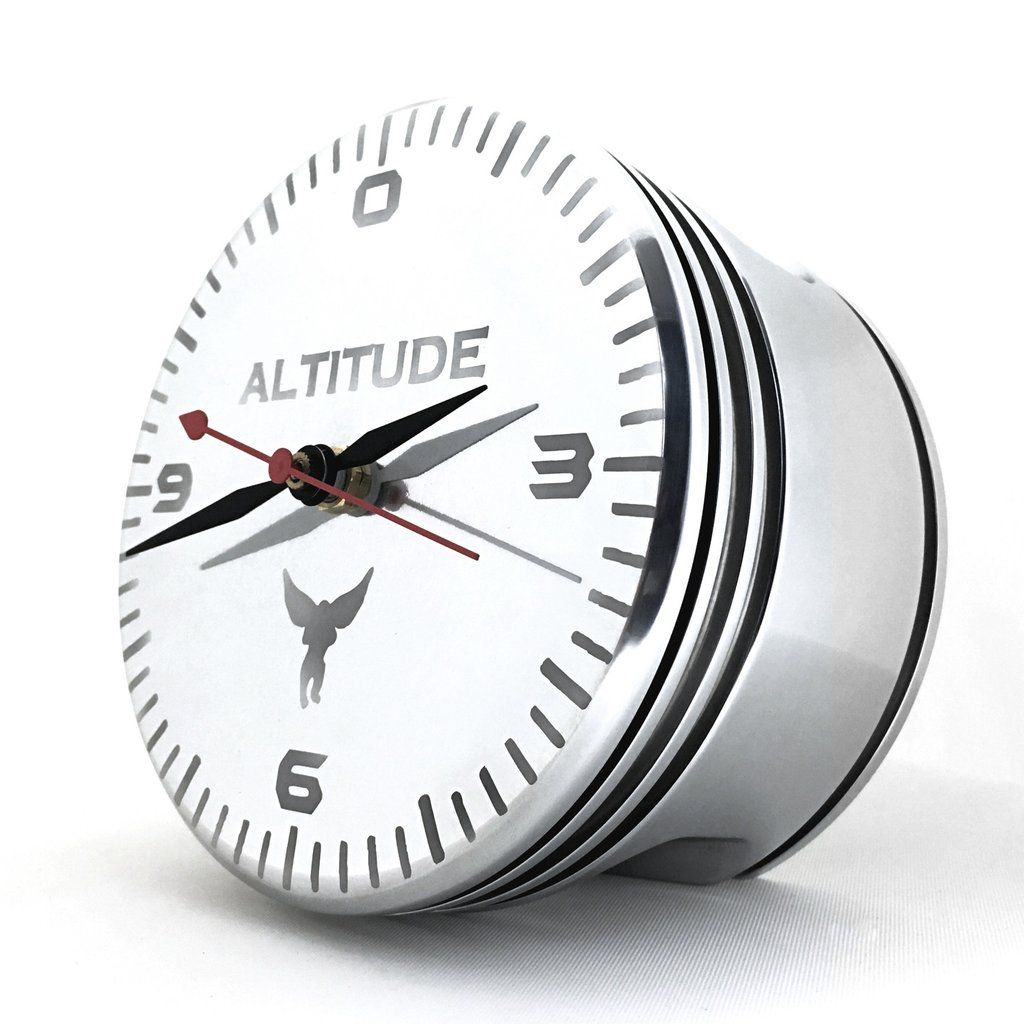 The Altimeter Wwii Airplane Radial Engine Piston Altitude Polished Desk Clock Clock Wwii Airplane Desk Clock