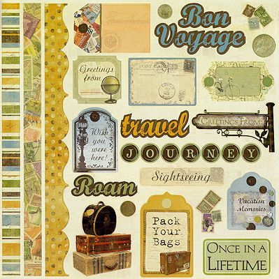 Bon Voyage 12x12 Cardstock Scrapbooking Stickers with ...