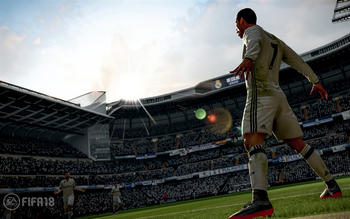 Download wallpapers FIFA 18, Cristiano Ronaldo, 4k, 2017 games