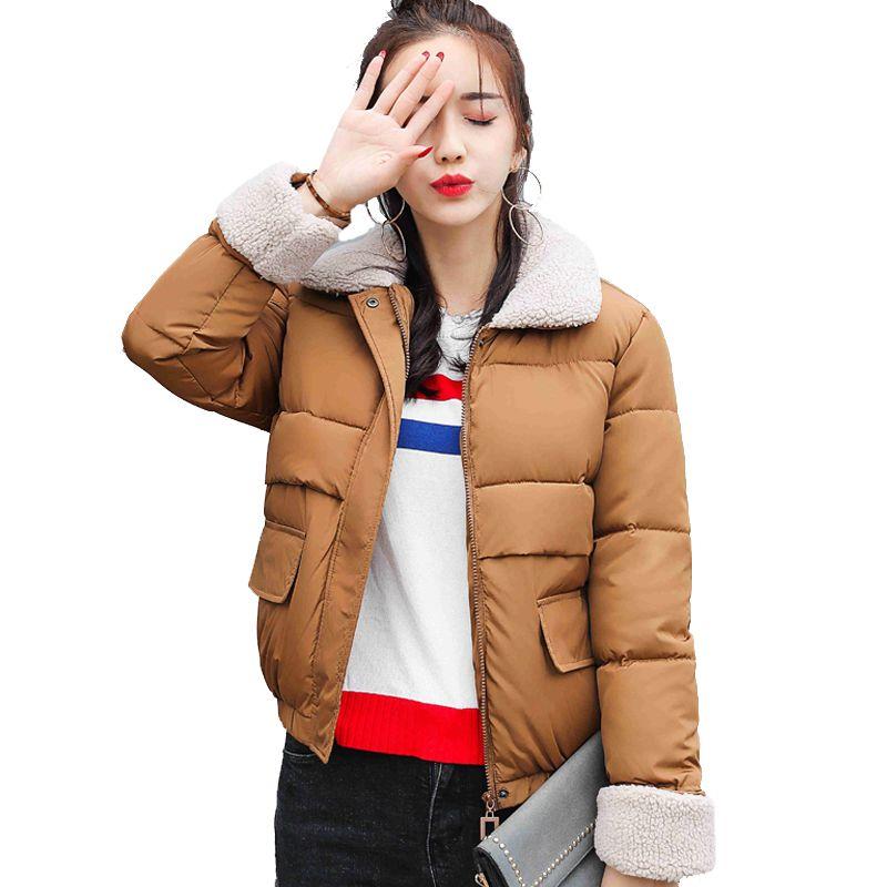 Купить товар 2018 Новое поступление корейский стиль короткие женские зимняя  куртка с отложным воротником осень Женская мода пальто Padded Basic Куртки  ... 0b5fea6b4bc
