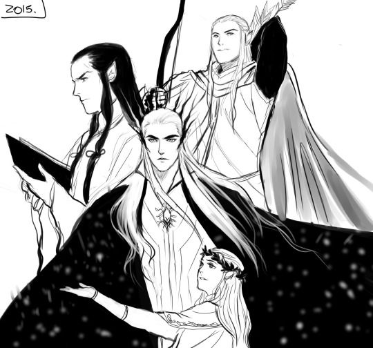 elrond thranduil and legolas credits to the artist the