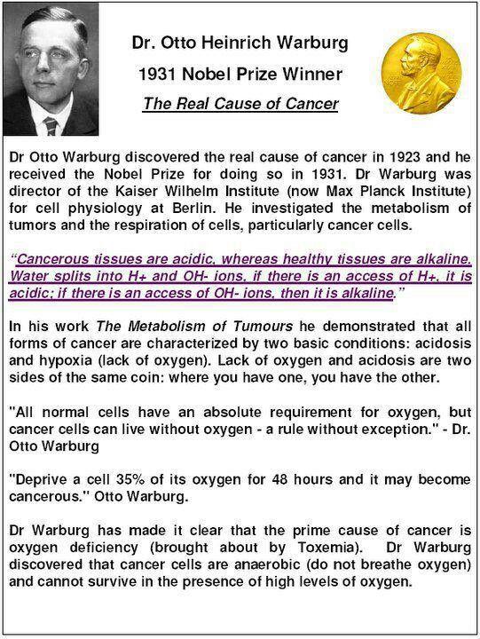 Dr Otto Heinrich Warburg Water Facts Kangen Water Cancer Info