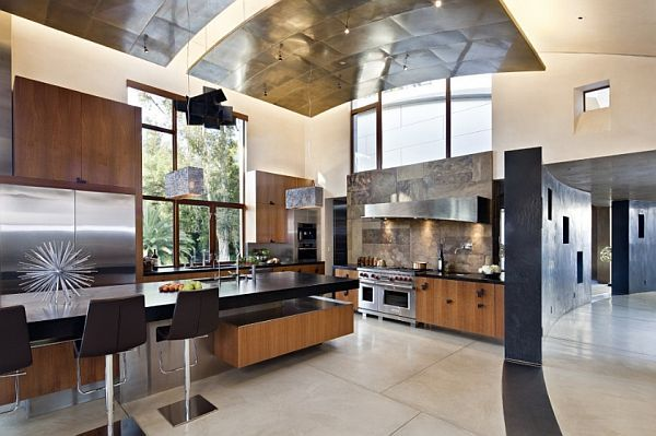 High Ceiling Contemporary Kitchen With Wooden Furnishings   Decoist Part 8