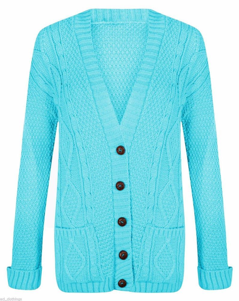 Details about Women's Long Chunky Cable Knitted Buttons Cardigan ...