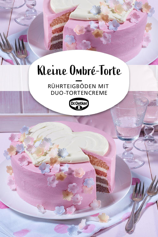 Kleine Ombre Torte Mit Herz Rezept Kuchen Und Torten Creme Fur Torten Und Torten