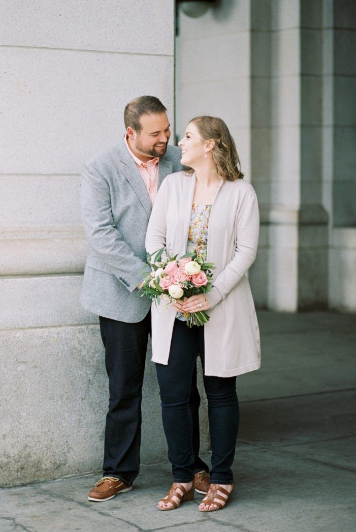 casual dress engagement fashion inspiration, light pink and cream bridal bouquet   union station, light and arrow photography