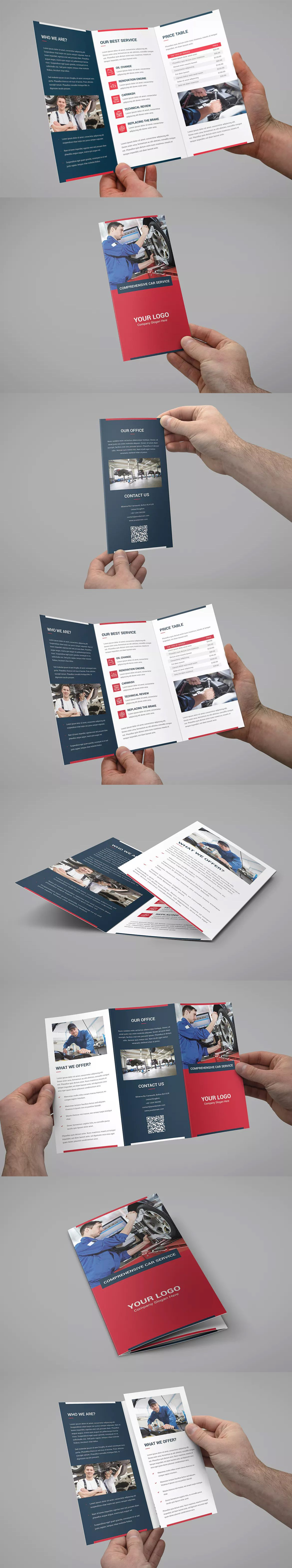 auto repair tri fold brochure template psd a4 and us letter size