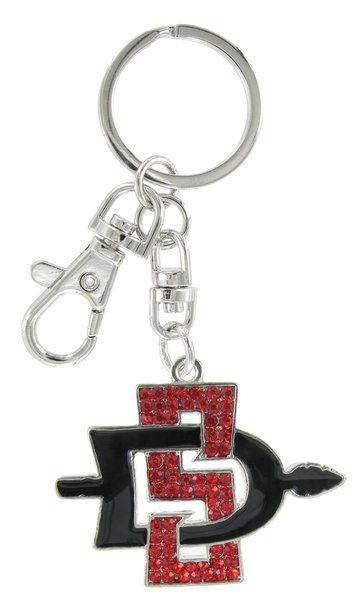 Large Red and Black Crystal and Enamel SDSU Aztecs Key Charm