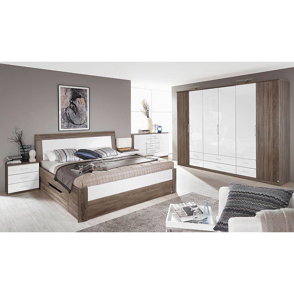 Schlafzimmer Set Arona 4tlg. 160x200 Eiche Havanna Hochglanz weiß ...