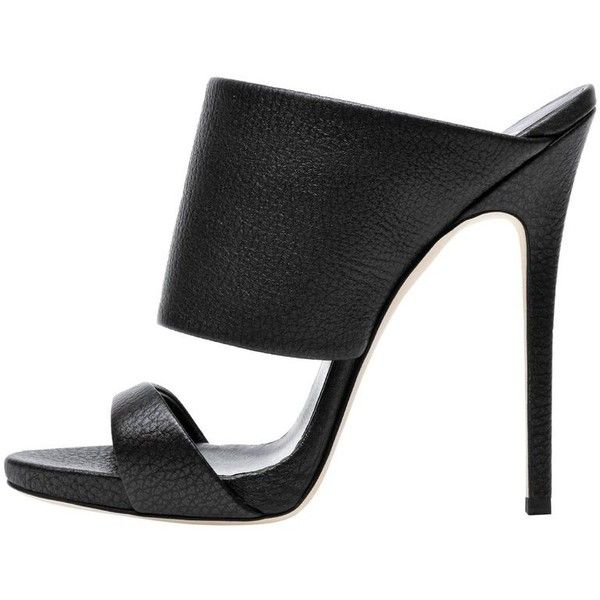 0fced9a6c02 Preowned Giuseppe Zanotti New Black Leather Slide In Mules Evening...  (€1.395