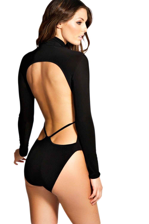 Lace bodysuit boohoo  Le noir Louise Body Ouvert Dans Le Dos À Bretelles  Robe danse