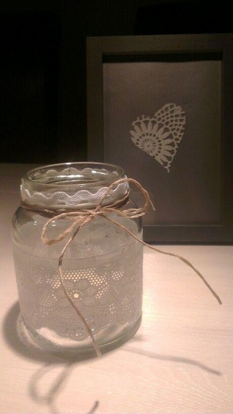 Gebruikt hak potje met kant touw en waxinelichtje erin creatief pinterest touw kant en met - Terras versieren ...