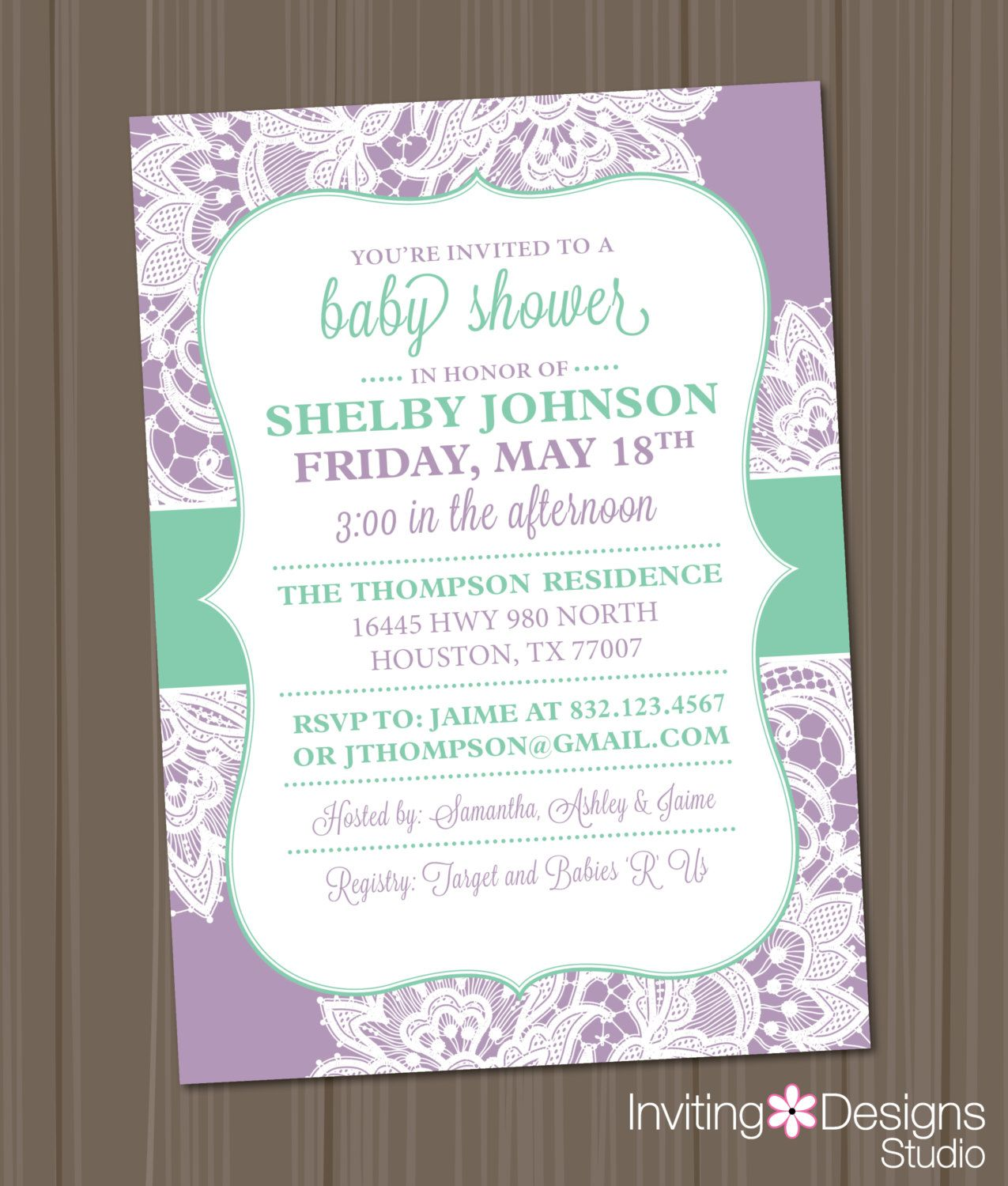 Girl Baby Shower Invitation Lace Lavender Purple Lilac Mint