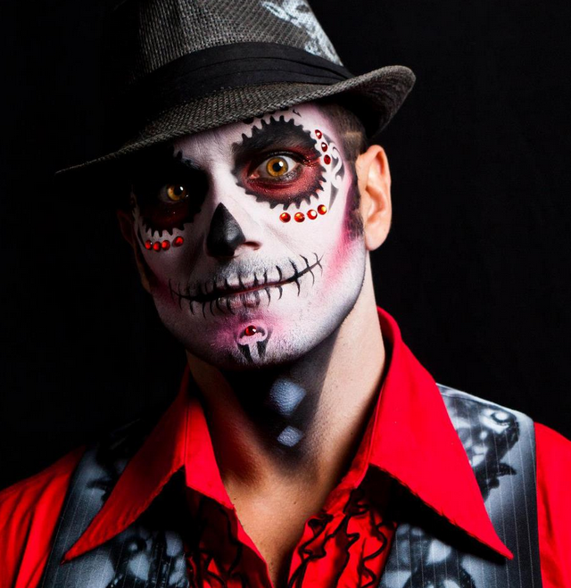 spray paint vest, day of the dead makeup | Mens Festival ...