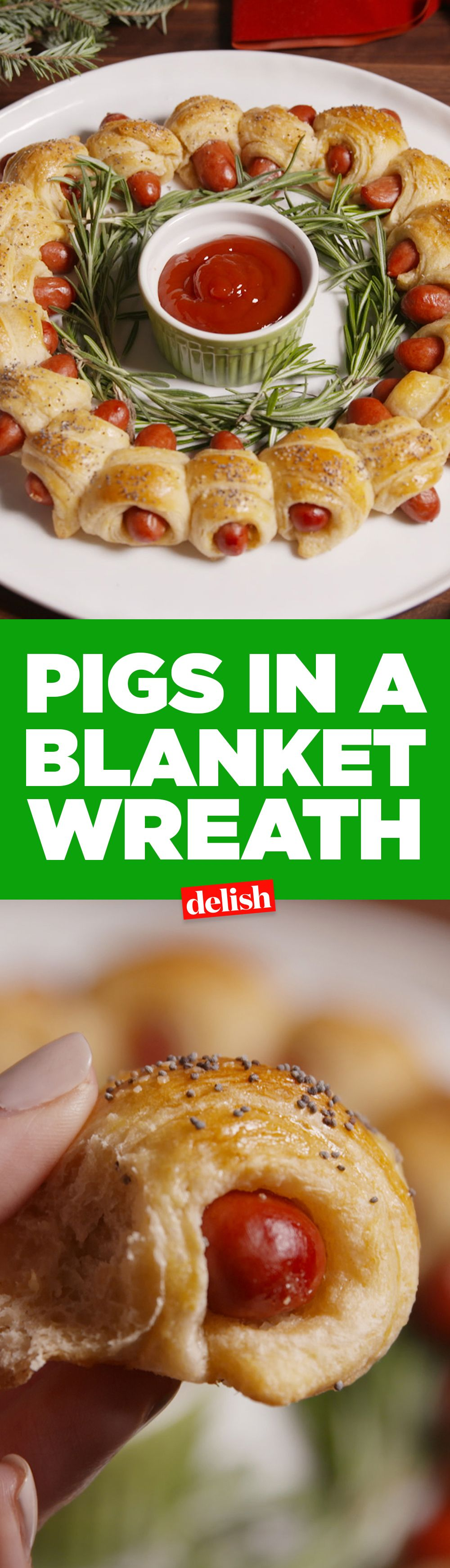 Pigs in a blanket wreath recipe christmas eve delish and wreaths forumfinder Image collections