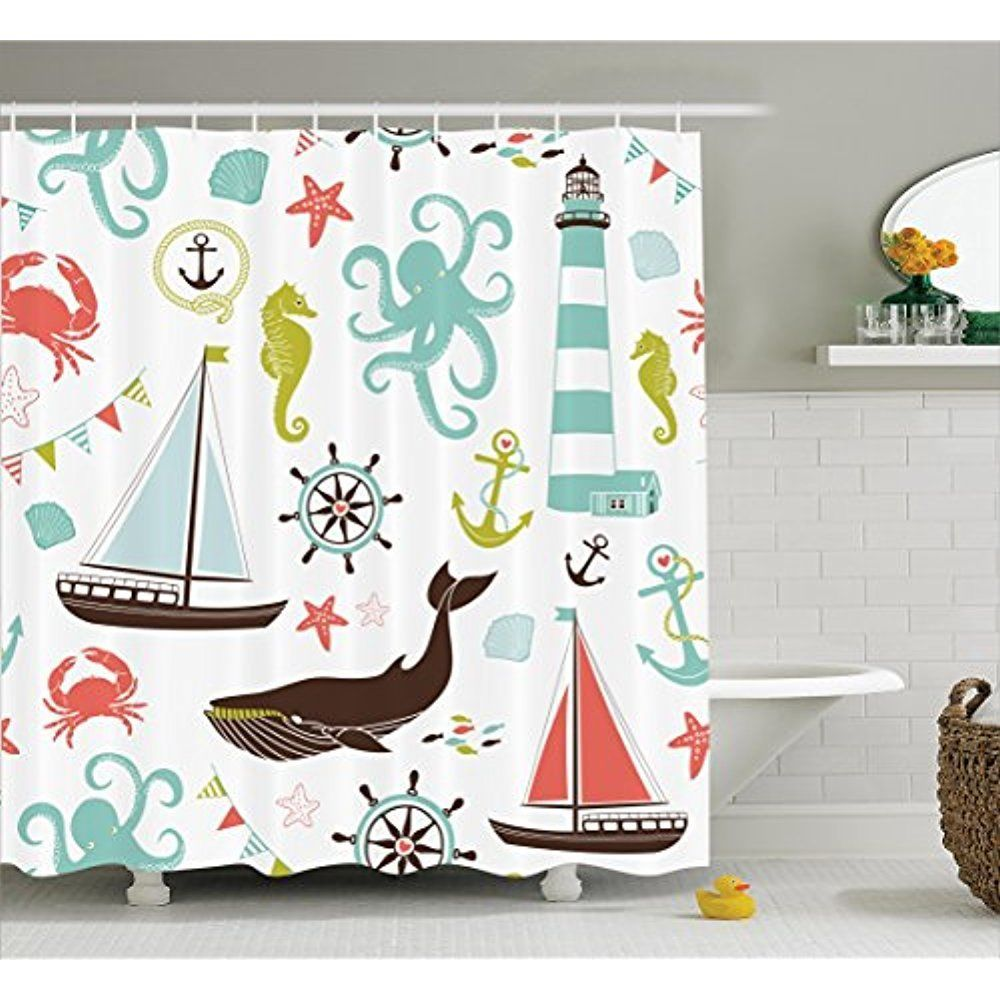 Nautical Fabric Shower Curtains 69