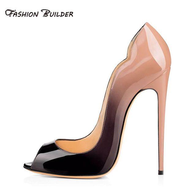 2016 Spring Autumn Fashion Gradient Color Peep Toe Slip On Super Thin High Heels Pumps Sexy Women Party Dress Shoes Plus Size