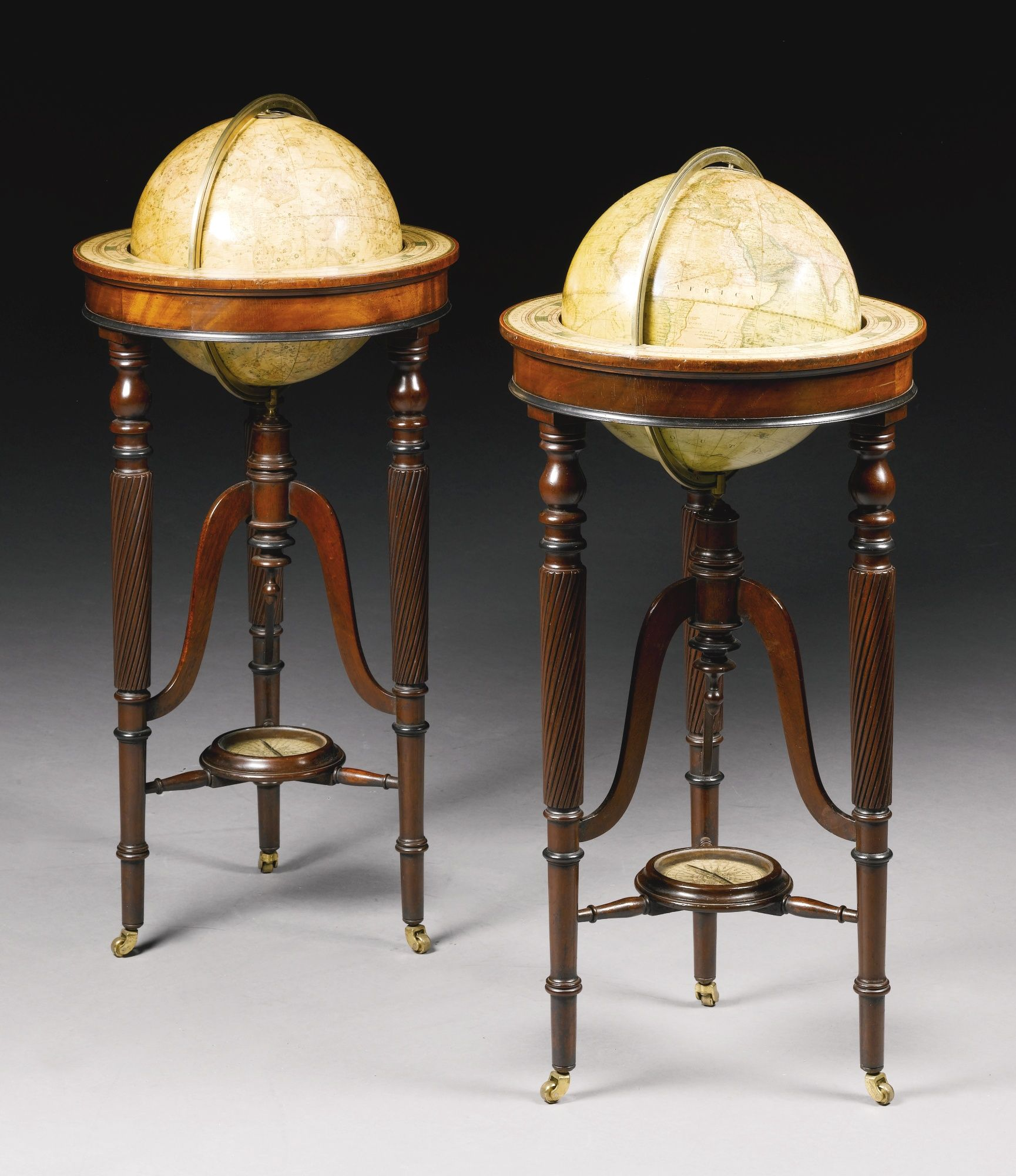 A pair of Regency Cary's 12 inch terrestrial & Celestial Globes<br>early 19th century | lot | Sotheby's