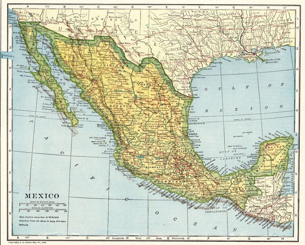 1924 Antique MEXICO Map and BAJA California Map Travel Gallery Wall ...