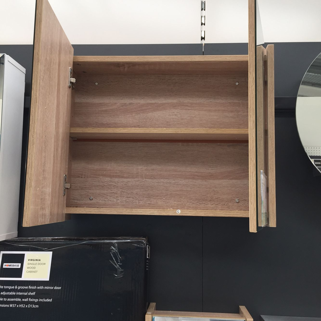 Inside the home base mirrored cabinet
