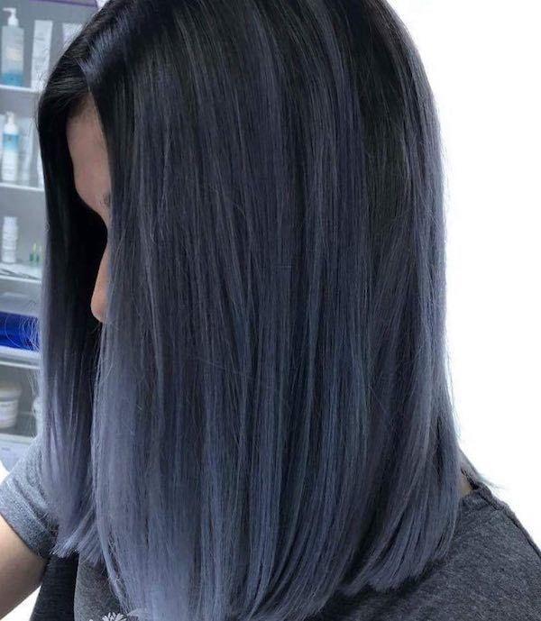 Periwinkle Black Hair In 2020 Balayage Straight Hair Hair Styles Straight Hairstyles