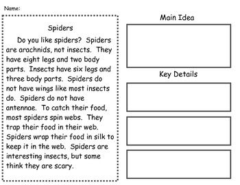 Main Idea Passages Supports Common Core Reading Classroom Main Idea Worksheet First Grade Reading
