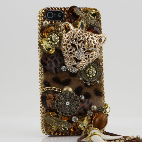 3d swarovski leopard crystal bling case cover for iphone 5 att verizon and sprint with detachable phone charm image 1   3D Swarovski Leopard Crystal Bling Case Cover for iphone 5 AT Verizon and Sprint with detachable phone charm Big Discount