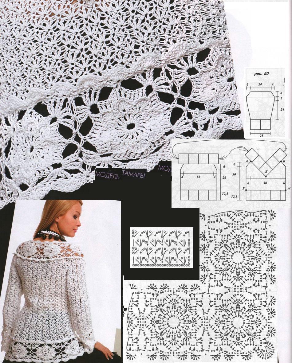 Jersey Escote Triangulo de Flores Patron - Patrones Crochet ...