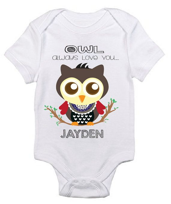 09ca77296 This owl design #baby #onesie can be personalized to your baby's name is now