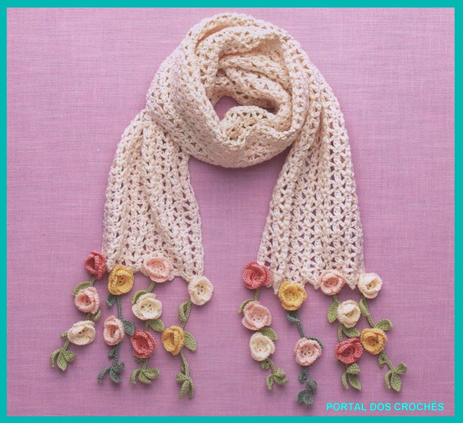 Cachecol de crochê com franja de rosinhas. | Flor | Pinterest | Chal ...