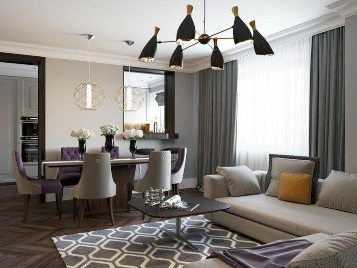 lampen wohnzimmer esszimmer lila akzente Wohnen Pinterest - wohnzimmer deko lila