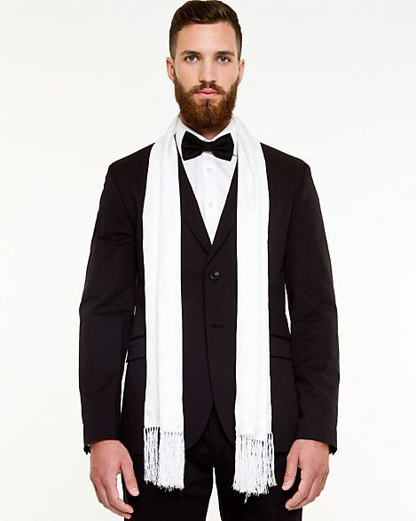 Mens white silk dress scarf