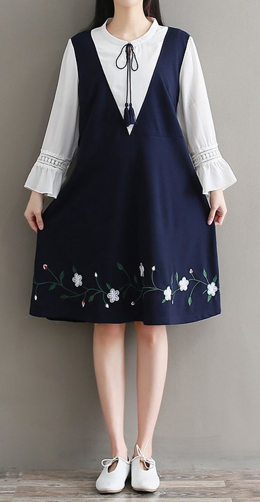 Women loose fit plus over size long sleeve flower embroidered dress ethnic chic #unbranded #embroide...