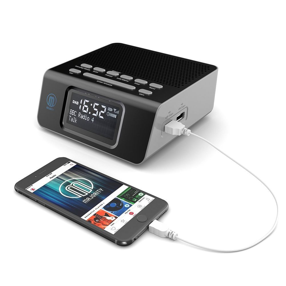 majority abbey dab dab digital fm radio alarm clock with usb charging black radio alarm. Black Bedroom Furniture Sets. Home Design Ideas