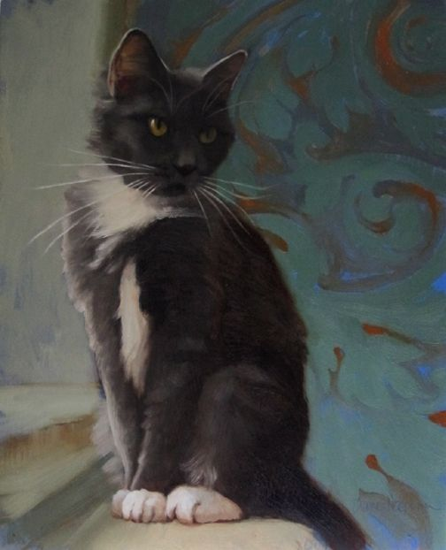 Diane Hoeptner Perched a new cat painting Cat painting