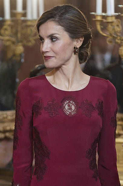 Queen Letizia of Spain receives foreign ambassadors at the Royal Palace on January 26 2017 in Madrid Spain