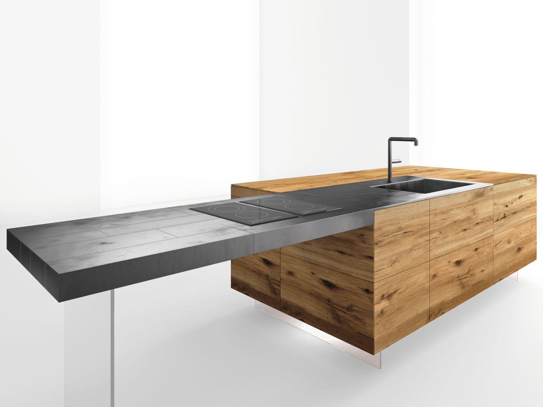 Lago Tavolo ~ Top cucina tavolo a penisola in acciaio e legno steel by lago
