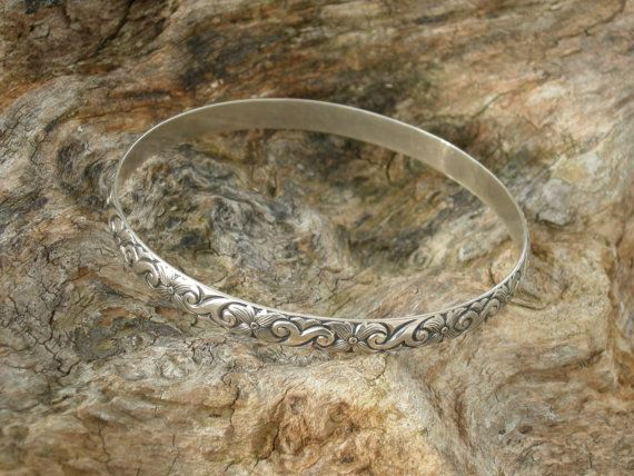 Solid Sterling Silver Danecraft Bangle Bracelet  by AntiquesNXS, $30.00