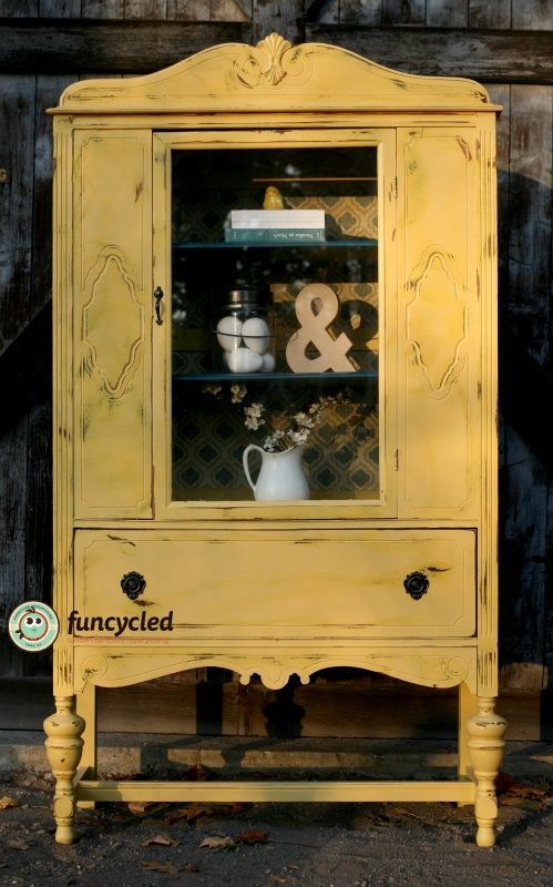 Mustard Yellow China Cabinet Shop Small Tuesday S Treasures Yellow Painted Furniture Painted China Cabinets China Cabinet